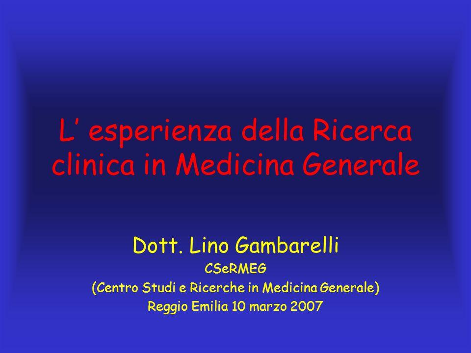 L' esperienza della Ricerca clinica in Medicina Generale