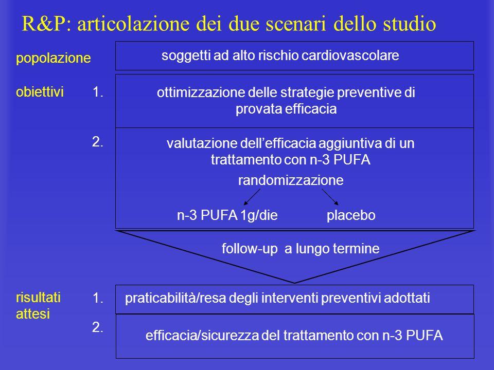 R&P: articolazione dei due scenari dello studio