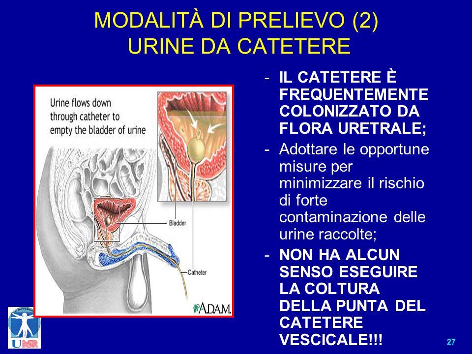 MODALITÀ DI PRELIEVO (2) URINE DA CATETERE