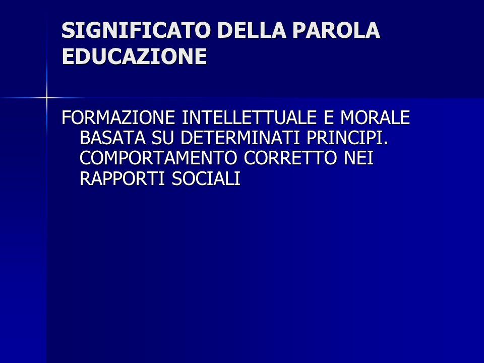 SIGNIFICATO DELLA PAROLA EDUCAZIONE