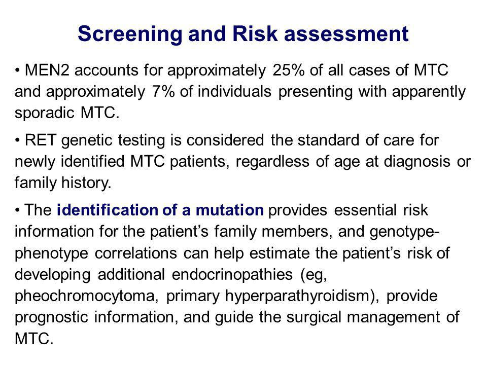Screening and Risk assessment