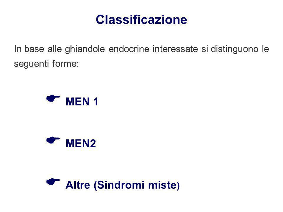 Classificazione In base alle ghiandole endocrine interessate si distinguono le seguenti forme:  MEN 1  MEN2  Altre (Sindromi miste)