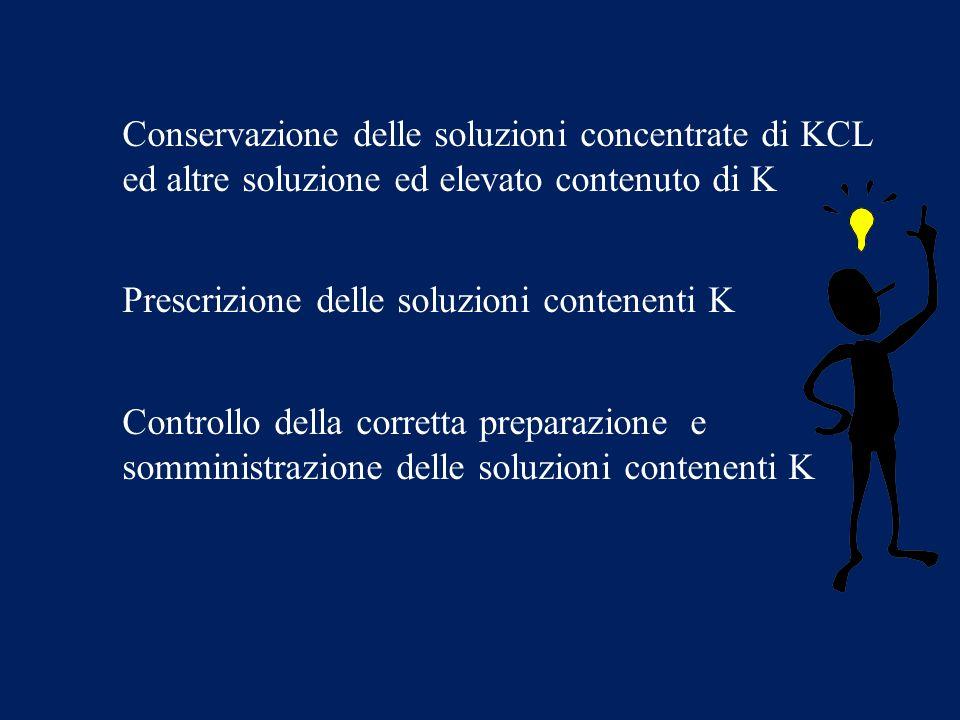 Conservazione delle soluzioni concentrate di KCL ed altre soluzione ed elevato contenuto di K