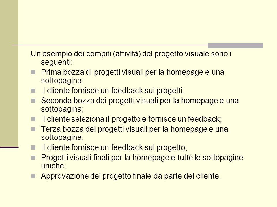 Un esempio dei compiti (attività) del progetto visuale sono i seguenti: