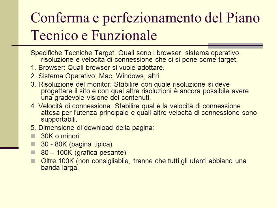 Conferma e perfezionamento del Piano Tecnico e Funzionale