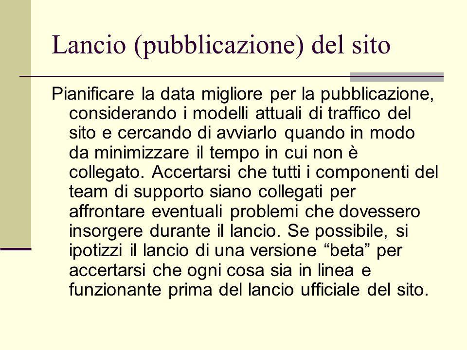 Lancio (pubblicazione) del sito