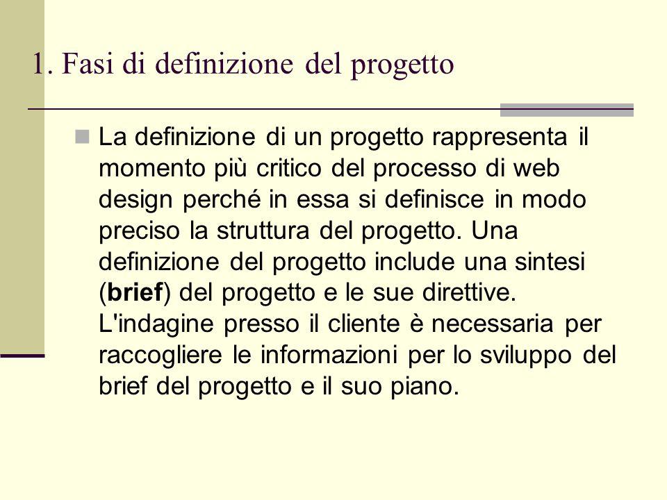1. Fasi di definizione del progetto