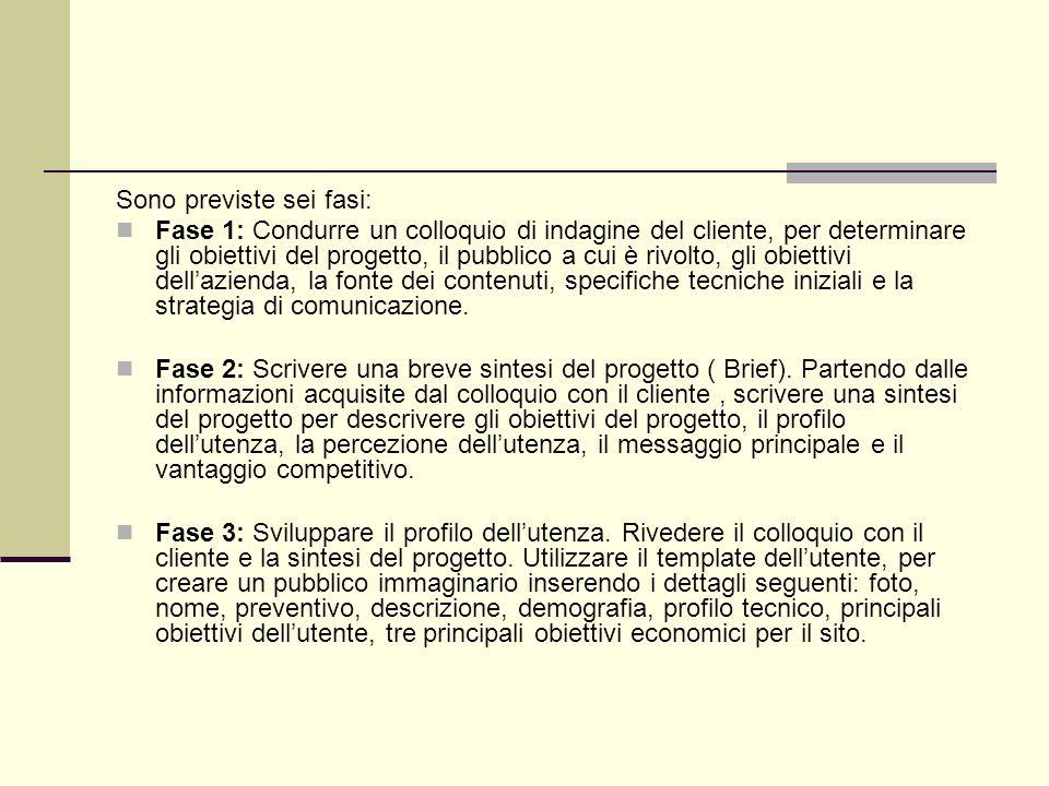 Sono previste sei fasi:
