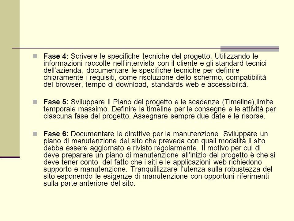 Fase 4: Scrivere le specifiche tecniche del progetto