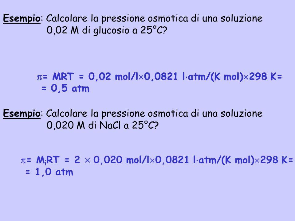 Esempio: Calcolare la pressione osmotica di una soluzione