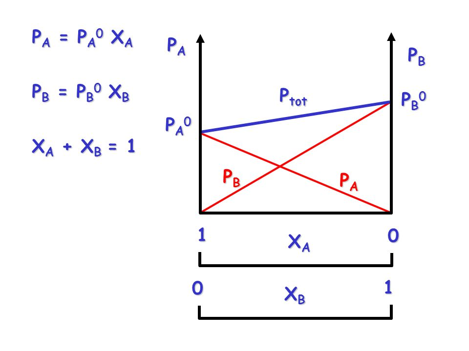 PA = PA0 XA PB = PB0 XB XA + XB = 1 PA PB Ptot PB0 PB PA0 PA XA 1 XB 1