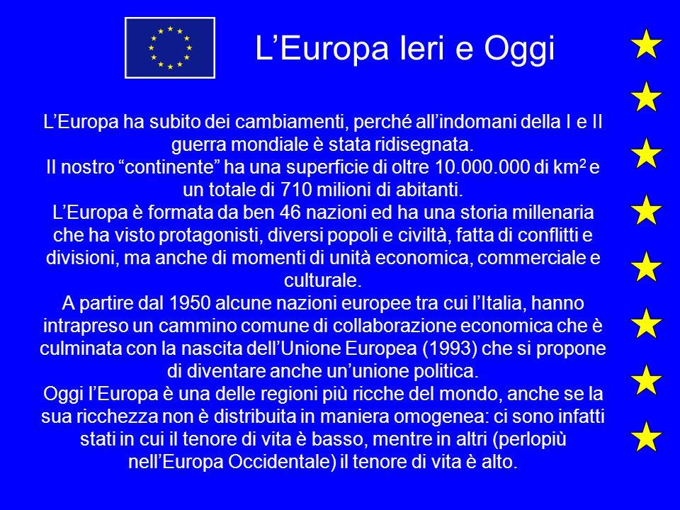 L'Europa Ieri e Oggi L'Europa ha subito dei cambiamenti, perché all'indomani della I e II guerra mondiale è stata ridisegnata.