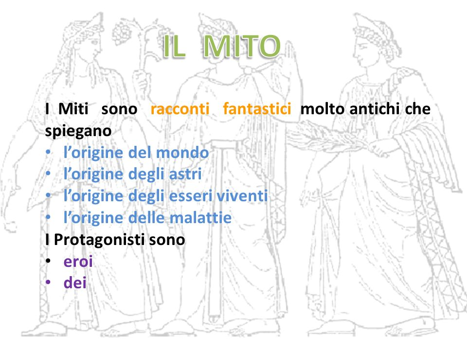 IL MITO I Miti sono racconti fantastici molto antichi che spiegano