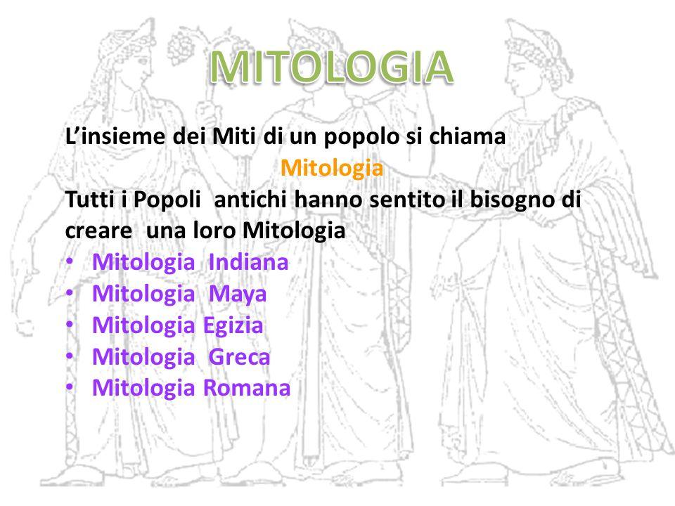 MITOLOGIA L'insieme dei Miti di un popolo si chiama Mitologia