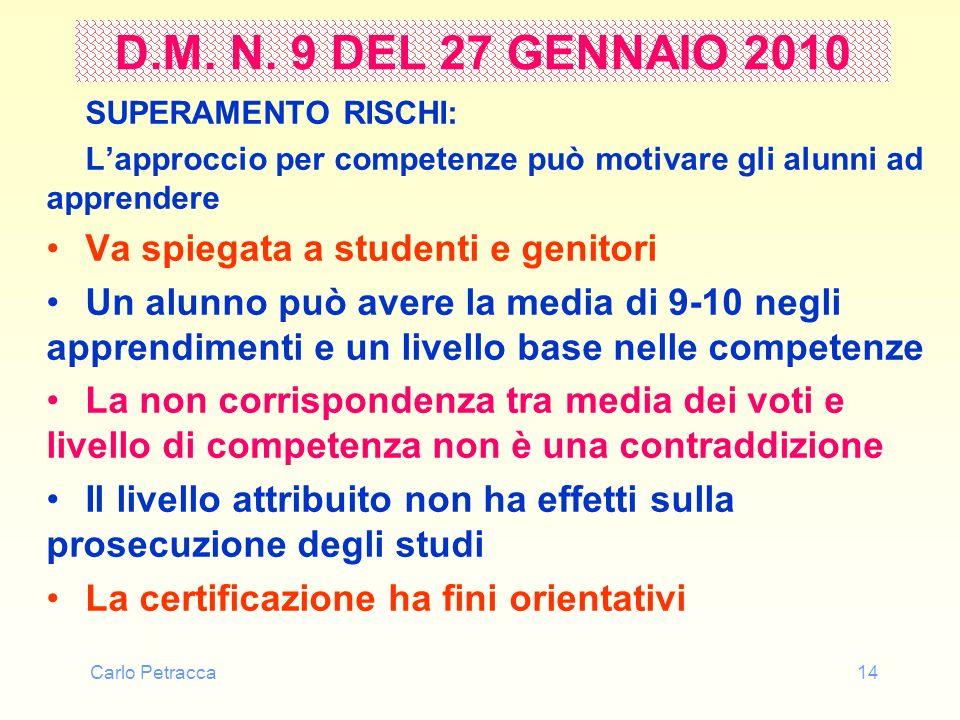 D.M. N. 9 DEL 27 GENNAIO 2010 Va spiegata a studenti e genitori