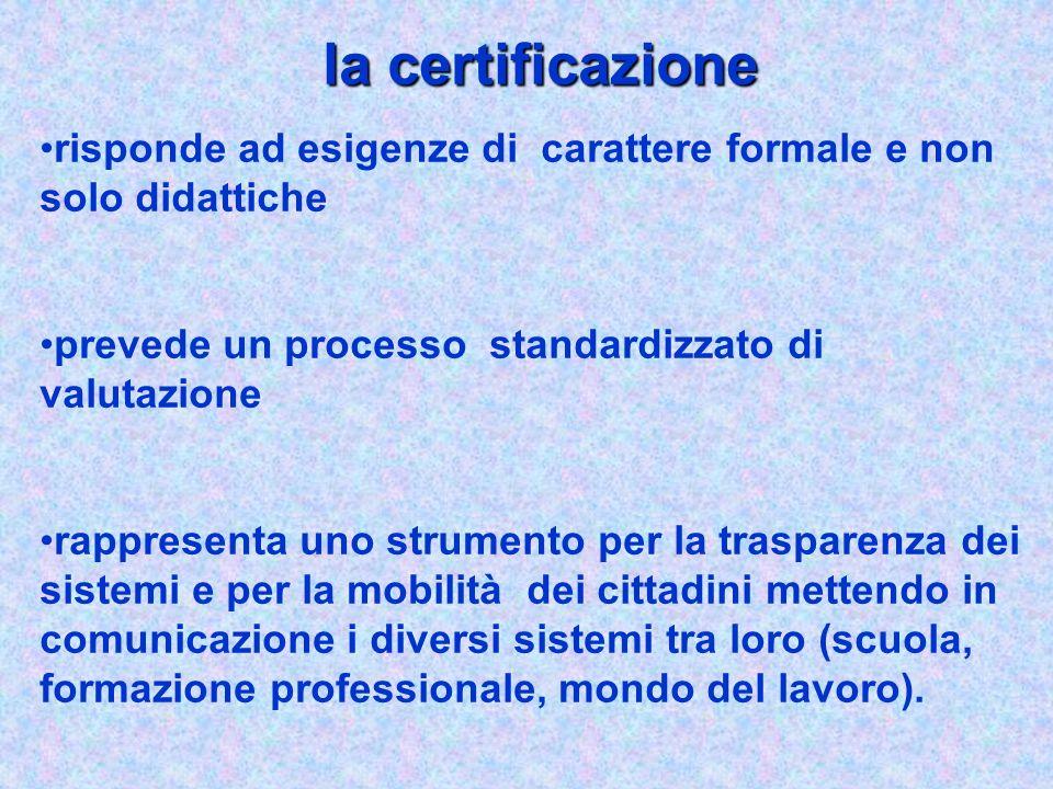 la certificazione risponde ad esigenze di carattere formale e non solo didattiche. prevede un processo standardizzato di valutazione.