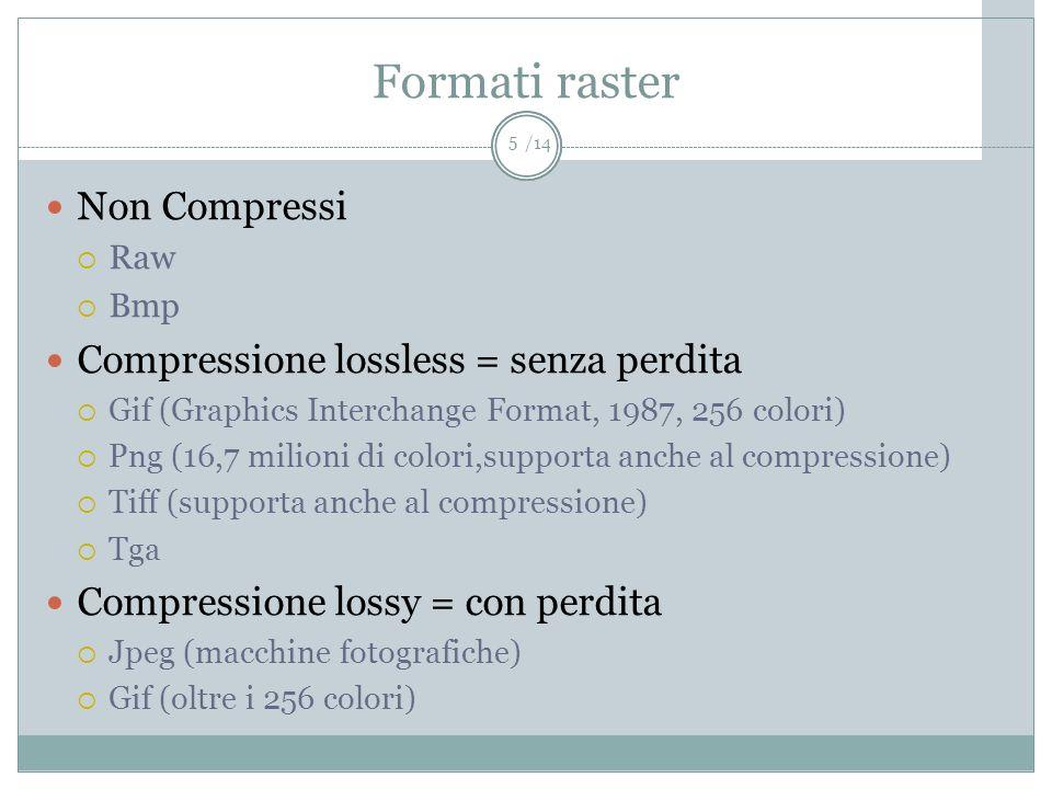 Formati raster Non Compressi Compressione lossless = senza perdita