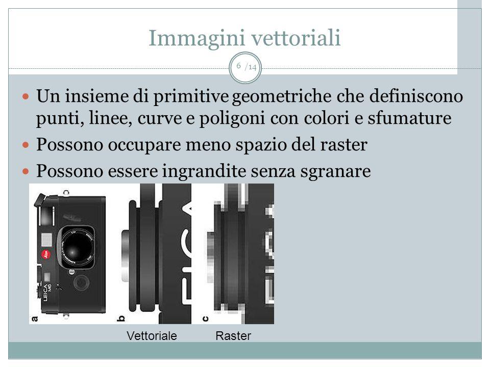 Immagini vettoriali Un insieme di primitive geometriche che definiscono punti, linee, curve e poligoni con colori e sfumature.