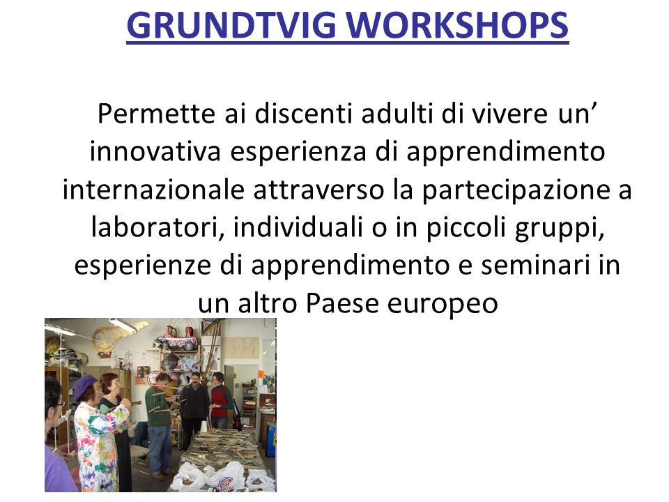 GRUNDTVIG WORKSHOPS Permette ai discenti adulti di vivere un' innovativa esperienza di apprendimento internazionale attraverso la partecipazione a laboratori, individuali o in piccoli gruppi, esperienze di apprendimento e seminari in un altro Paese europeo