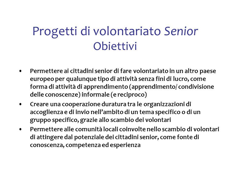 Progetti di volontariato Senior Obiettivi