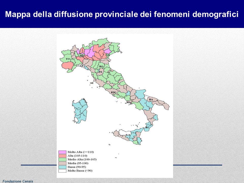 Mappa della diffusione provinciale dei fenomeni demografici
