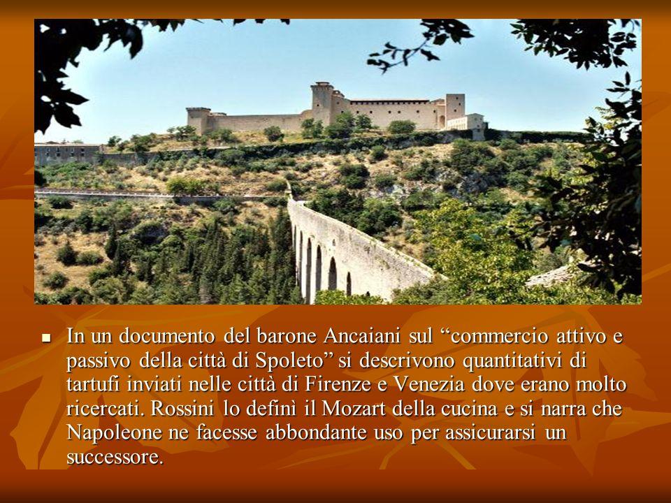 In un documento del barone Ancaiani sul commercio attivo e passivo della città di Spoleto si descrivono quantitativi di tartufi inviati nelle città di Firenze e Venezia dove erano molto ricercati.