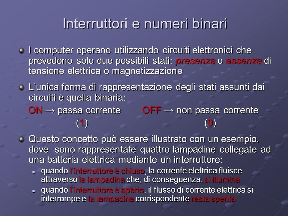 Interruttori e numeri binari