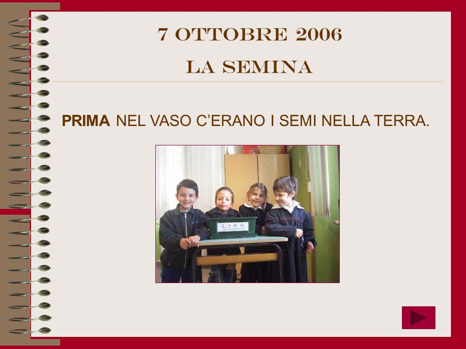 7 OttObre 2006 LA SEMINA PRIMA NEL VASO C'ERANO I SEMI NELLA TERRA.