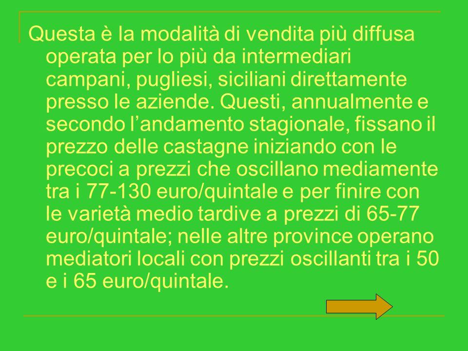 Questa è la modalità di vendita più diffusa operata per lo più da intermediari campani, pugliesi, siciliani direttamente presso le aziende.