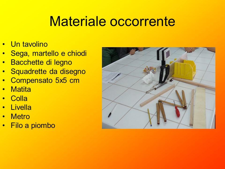 Materiale occorrente Un tavolino Sega, martello e chiodi