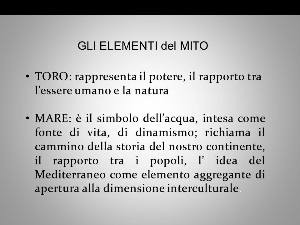 GLI ELEMENTI del MITO TORO: rappresenta il potere, il rapporto tra l'essere umano e la natura.