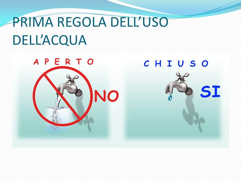 PRIMA REGOLA DELL'USO DELL'ACQUA