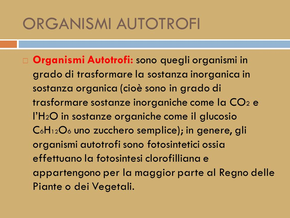 ORGANISMI AUTOTROFI