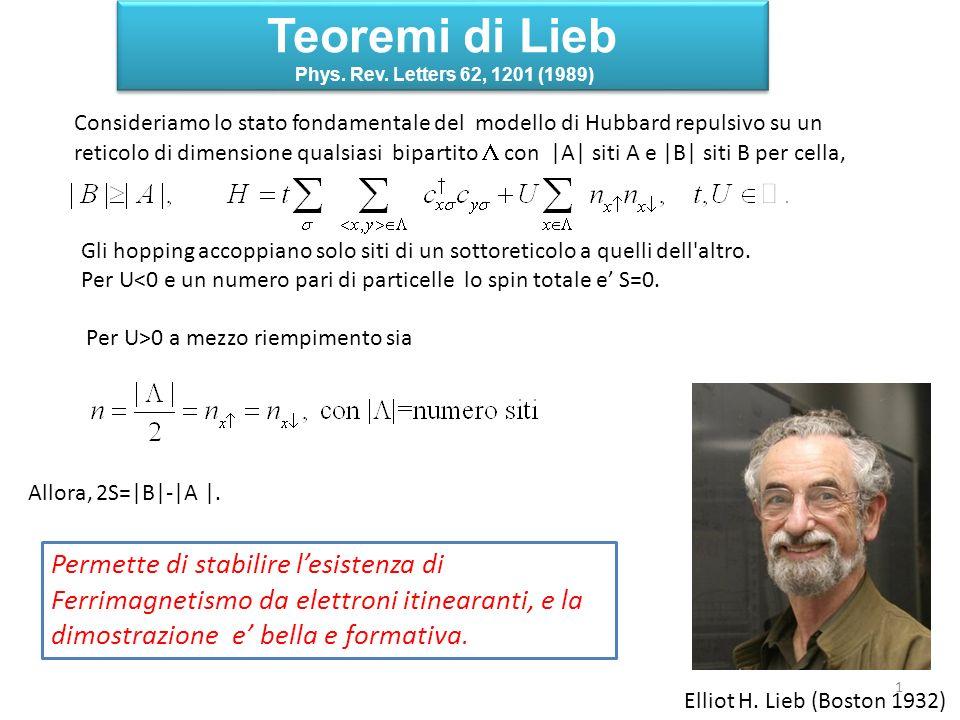 Teoremi di Lieb Permette di stabilire l'esistenza di