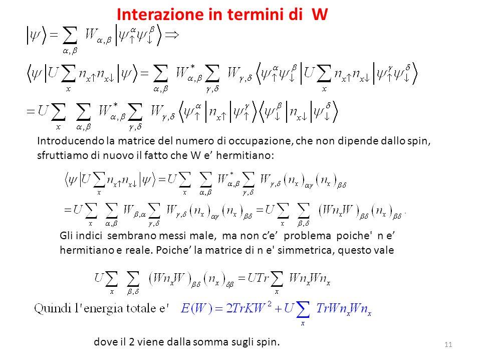 Interazione in termini di W