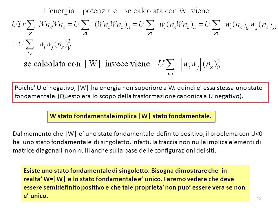 Poiche U e negativo, |W| ha energia non superiore a W, quindi e essa stessa uno stato fondamentale. (Questo era lo scopo della trasformazione canonica a U negativo).