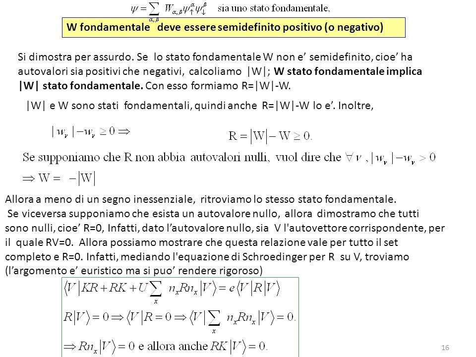 W fondamentale deve essere semidefinito positivo (o negativo)