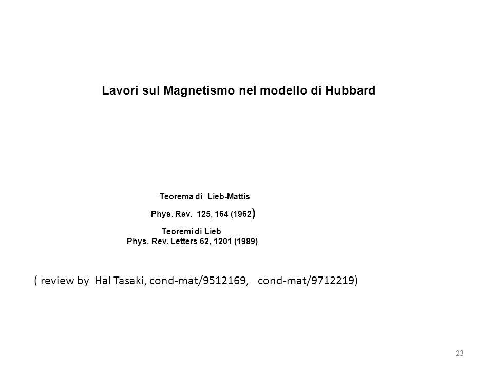 Lavori sul Magnetismo nel modello di Hubbard
