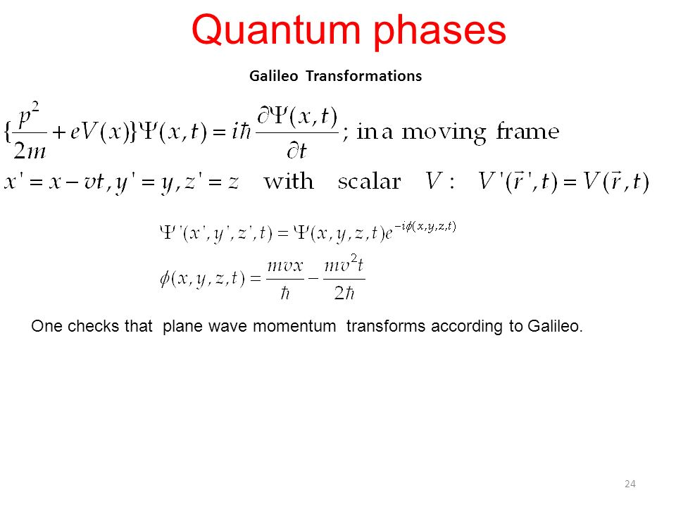Galileo Transformations