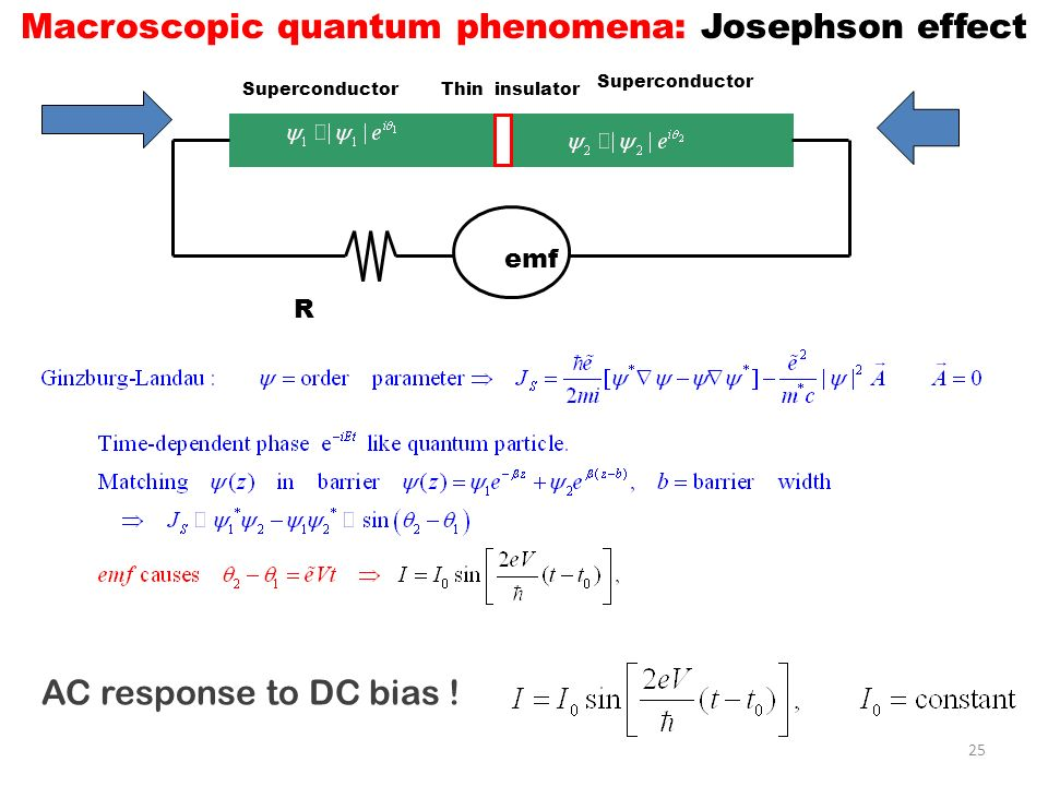 Macroscopic quantum phenomena: Josephson effect