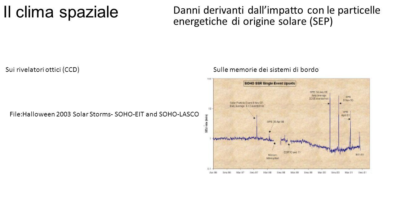 Il clima spaziale Danni derivanti dall'impatto con le particelle energetiche di origine solare (SEP)