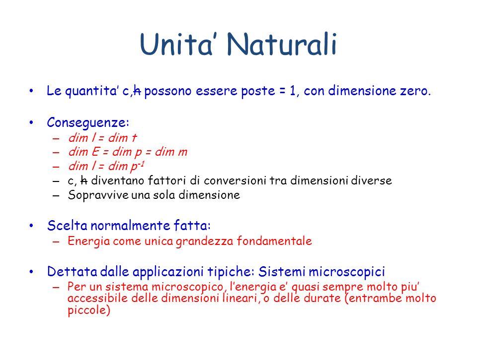 Unita' Naturali Le quantita' c,h possono essere poste = 1, con dimensione zero. Conseguenze: dim l = dim t.