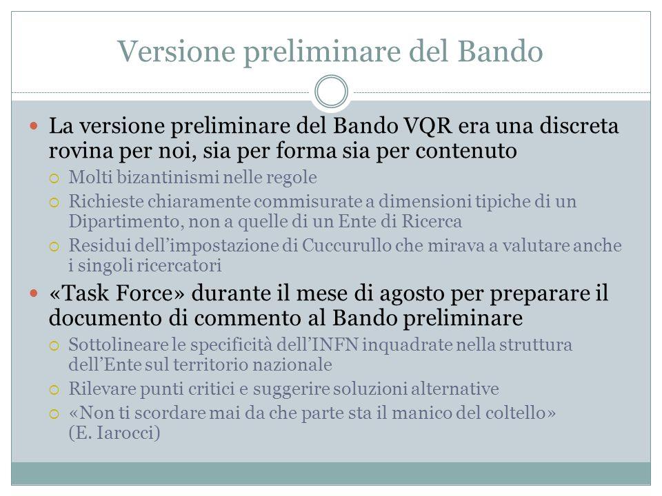 Versione preliminare del Bando