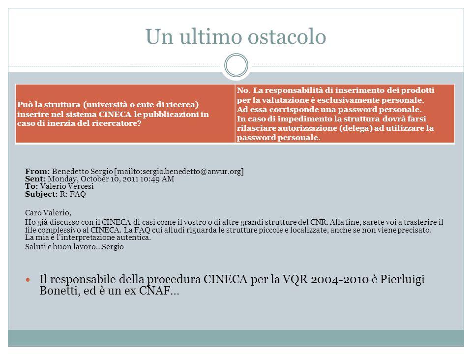 Un ultimo ostacolo Può la struttura (università o ente di ricerca) inserire nel sistema CINECA le pubblicazioni in.