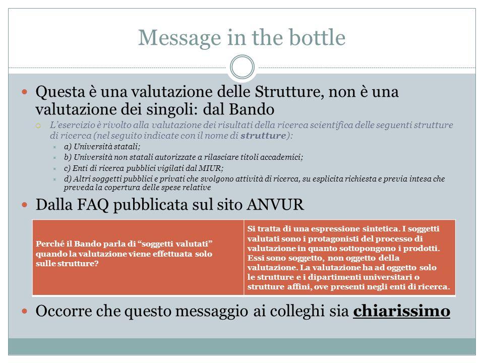 Message in the bottle Questa è una valutazione delle Strutture, non è una valutazione dei singoli: dal Bando.