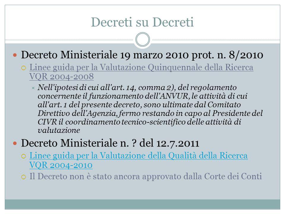 Decreti su Decreti Decreto Ministeriale 19 marzo 2010 prot. n. 8/2010