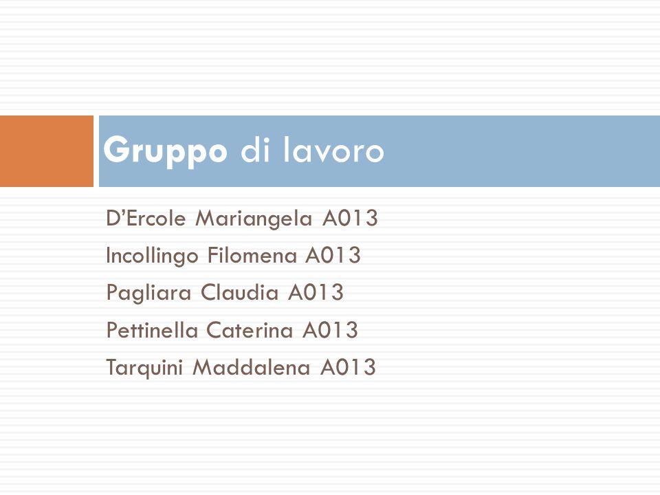 Gruppo di lavoro D'Ercole Mariangela A013 Incollingo Filomena A013