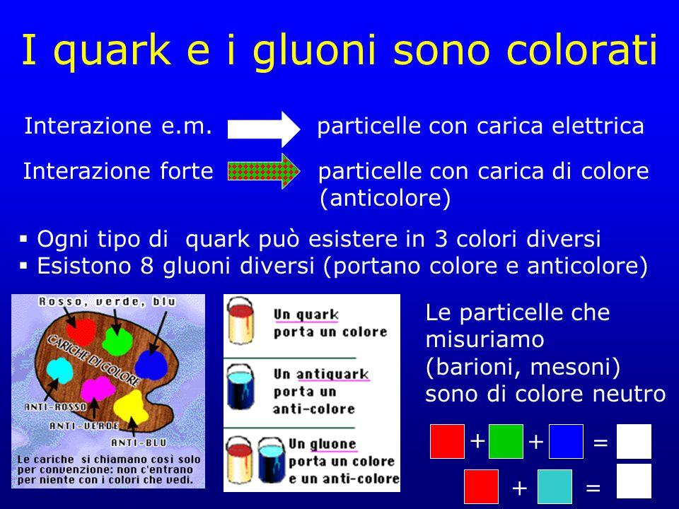 I quark e i gluoni sono colorati
