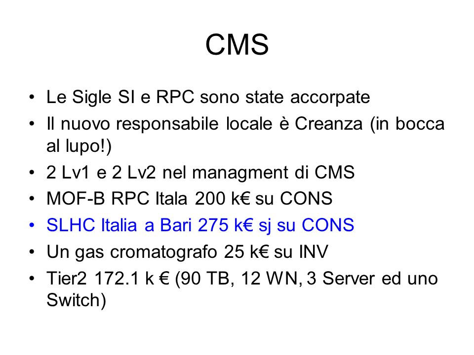 CMS Le Sigle SI e RPC sono state accorpate