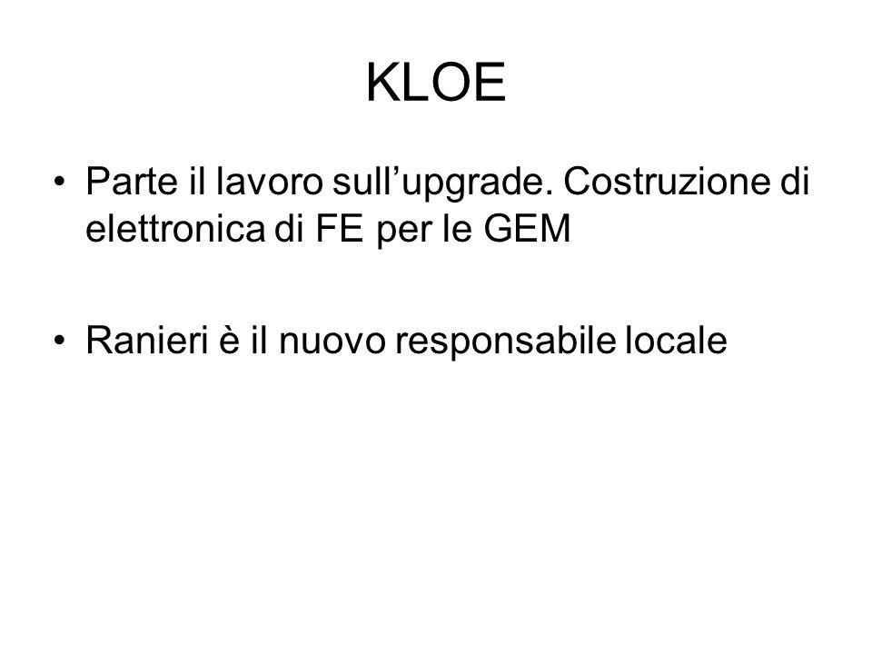 KLOE Parte il lavoro sull'upgrade. Costruzione di elettronica di FE per le GEM.